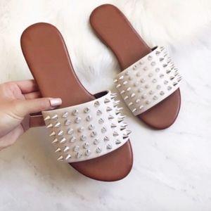 Shoes - White Studded Slide Sandal